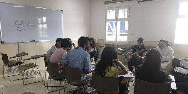Students at the Catholic Univeristy of Erbil (CUE)