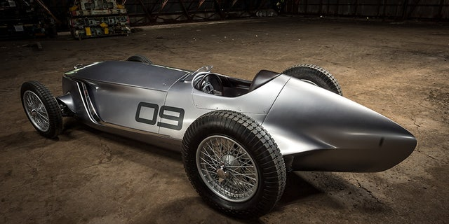 The INFINITI Prototype 9 is a celebration of Nissan Motor and INFINITI's ingenuity, artistry and craftsmanship. It represents a reimagining of a 1940s race car with time-honored production techniques employed to realize its retro design.