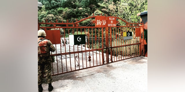 """At the gates on the Pakistan side of the Indian border in Jammu and Kashmir, known as the """"Line of Control"""" (LOC)"""