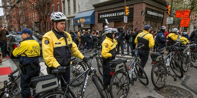 April 15, 2018: Philadelphia police form a line in front of the Starbucks that was at the center of a Black Lives Matter protest.