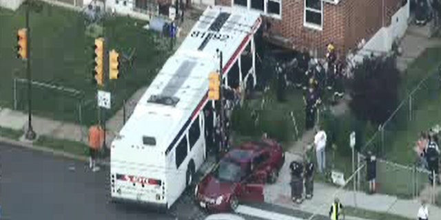 James Robert Derbyshire, 52, was killed when a public transit bus jumped a curb and ran into his son's house Thursday in Philadelphia.
