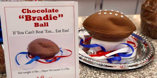 """Jan. 28, 2015: A """"deflated"""" chocolate football called a """"Bradie"""" Ball is on display at Sarris Candy store in in Canonsburg, Pa."""