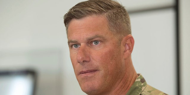 Letterkenny Army Depot Commander Col. Stephen Ledbetter, leads a press conference about an explosion in a paint shop that injured workers Thursday morning, July 19, 2018 at Letterkenny Army Depot, in Chambersburg, Pa.