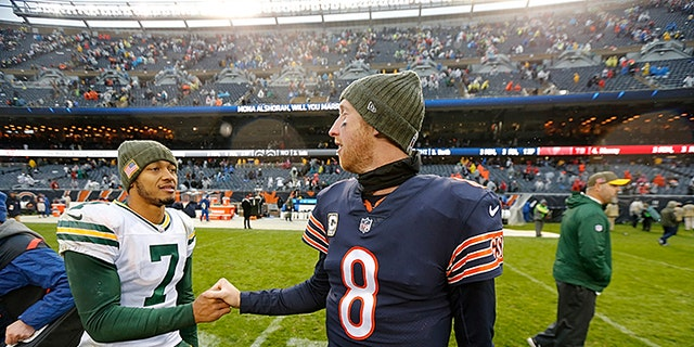 Green Bay Packers quarterback Brett Hundley (7) greets Chicago Bears quarterback Mike Glennon (8) after an NFL football game, Sunday, Nov. 12, 2017, in Chicago.