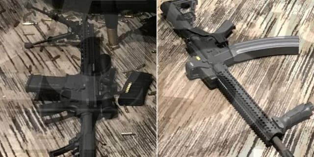 Images of two weapons used by Stephen Paddock during the Las Vegas massacre.
