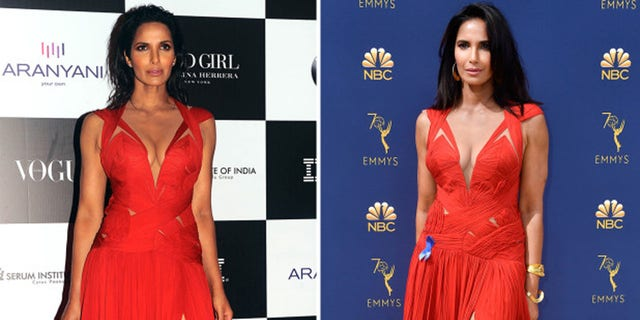 Padma Lakshmi outfit repeats her red Emmys gown, admits she wore it a year prior to last night's Emmy awards.