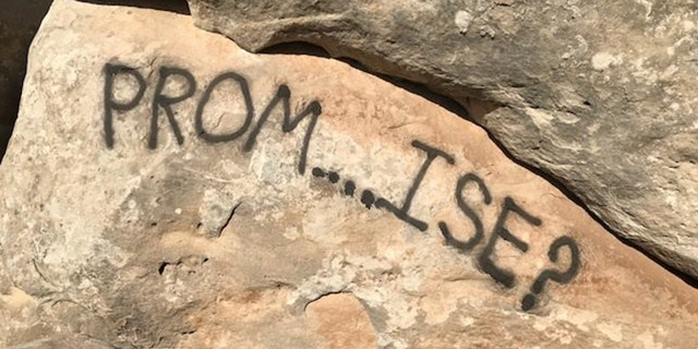 The graffiti on the rocks at the Colorado National Monument.