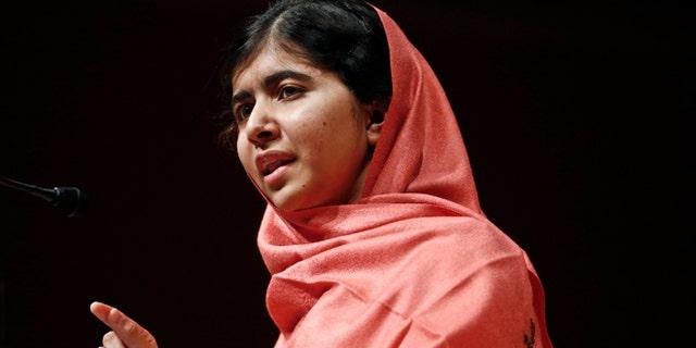 Sept. 27, 2013: Malala Yousafzai addresses students and faculty after receiving the 2013 Peter J. Gomes Humanitarian Award at Harvard University in Cambridge, Mass.