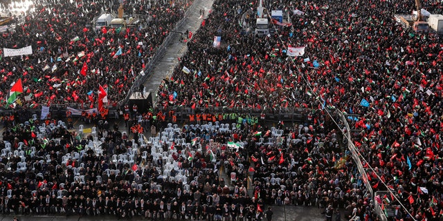 Demonstrators wave Turkish and Palestinian flags during a protest against U.S. President Donald Trump's recognition of Jerusalem as Israel's capital, in Istanbul, Turkey, Dec. 10, 2017