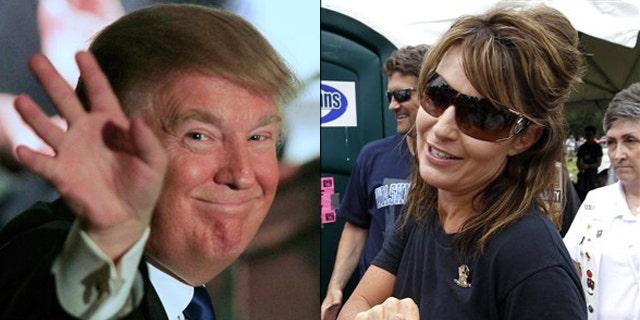 Shown here are Donald Trump, left, and former Alaska Gov. Sarah Palin.