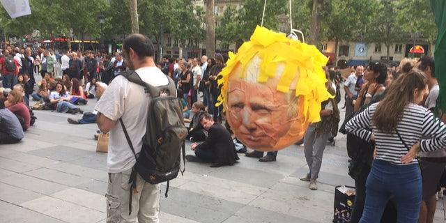 Anti Trump protest Place de la Republique.