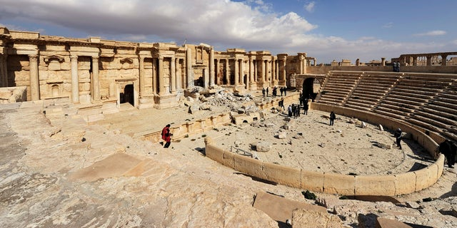 Palmyra's amphitheater after the ISIS terror group occupied the city.