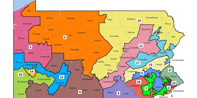 Pennsylvania's current congressional map, drawn in 2011.