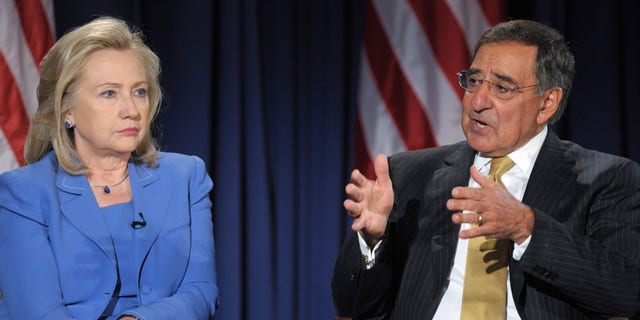 Defense Secretary Leon Panetta, accompanied by Secretary of State Hillary Rodham Clinton, speaks during an event at the National Defense University in Washington, Tuesday, Aug. 16, 2011.