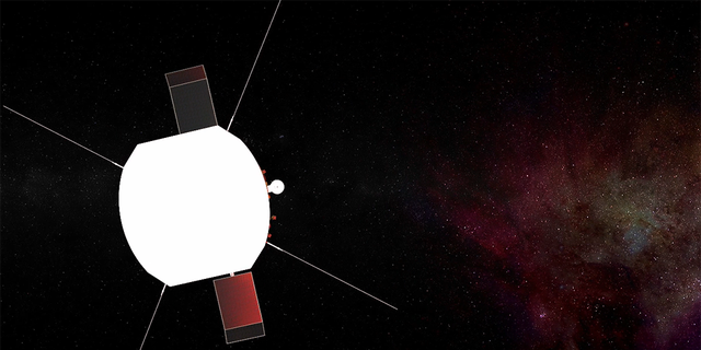 An artist's concept of Parker Solar Probe in space. The FIELDS antennas extend out from behind the heat shield, and the Solar Probe Cup is visible on the right. (Credit: NASA/JHUAPL)