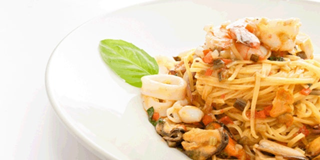A pasta dish served with calamari served at Buonanotte in Montreal.