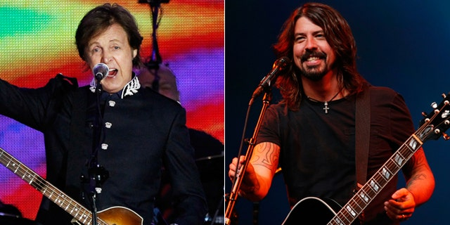 Paul McCartney, left, and Dave Grohl, right.