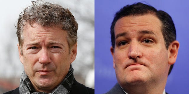 Shown here are Sen. Rand Paul, left, and Sen. Ted Cruz.