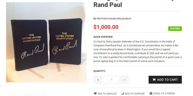The priciest item in all the stores came from the Paul camp – a copy of the Constitution, signed by the Kentucky senator, for $1,000.