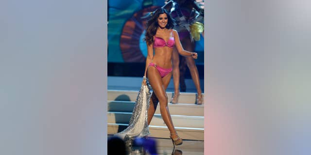 Paulina Vega takes the stage for the bathing suit portion of the Miss Universe pageant.