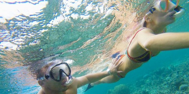 Snorkeling with a shark was one of the highlights for Phoebe and Sam.