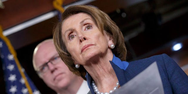 Dec. 4, 2014: House Minority Leader Nancy Pelosi of Calif., joined by Rep. Joe Crowley, D-N.Y., holds a news conference on Capitol Hill.