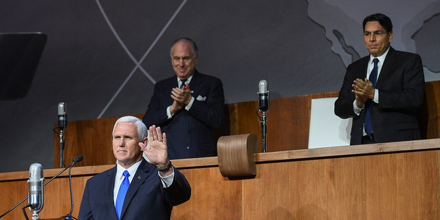 Vice President Mike Pence spoke at the United Nations to commemorate the vote 70 years ago toward the creation of Israel.