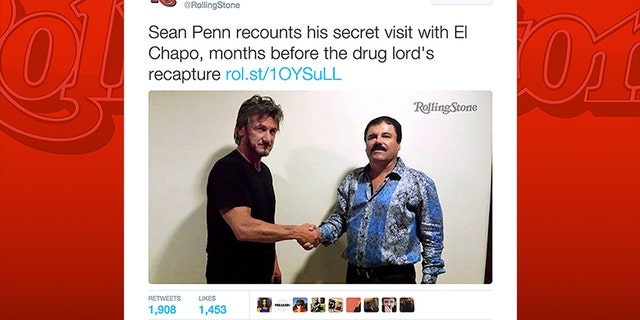 Penn, (l.), scored the interview while El Chapo, (r.), was on the run.