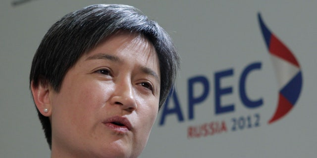Australian Finance Minister Penny Wong speaks after a meeting between Finance Ministers of the Asia-Pacific Economic Cooperation.