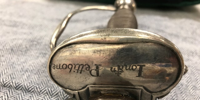 Inscription of Pettibone's name on the sword (Museum of the American Revolution)