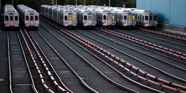 Market-Frankford line trains remain idle at a Southeastern Pennsylvania Transportation Authority (SEPTA) station Tuesday, Nov. 1, 2016 in Upper Darby, Pa., just outside Philadelphia