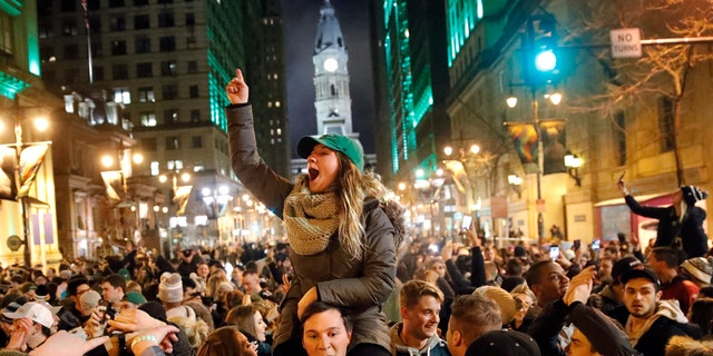 Philadelphia Eagles fans celebrate the team's victory over the New England Patriots in Super Bowl LII.