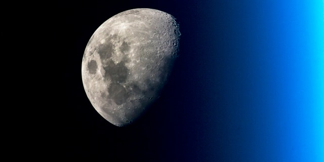 Pay-dirt potential? Earth's moon as seen from the International Space Station.