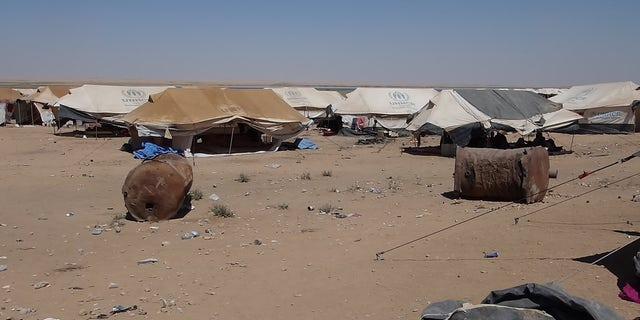 No clean water or sanitation for those forced to live at Arisha Camp, previously an oil refinery in Syria.