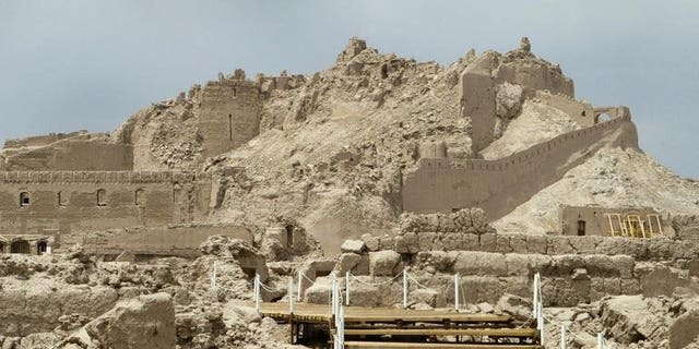 """Iran's ancient citadel of Bam in 2005. Almost completely destroyed by a major earthquake in 2003, Bam has been removed from the UNESCO list of """"World Heritage in Danger""""."""