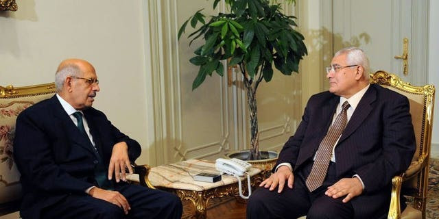A handout picture released by the Egyptian Presidency shows Egypt's interim president Adly Mansour (R) meeting with opposition National Salvation Front leader Mohamed ElBaradei in Cairo on July 6, 2013. Egypt's presidency said Saturday that ElBaradei has not been officially appointed prime minister, after several official sources said the former UN nuclear watchdog chief had been named premier.