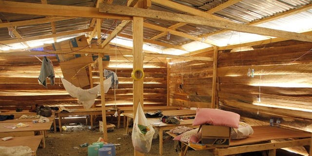 A photo taken on June 15, 2013 shows living quarters for Chinese miners at a mine that was raided by Ghana's security forces in Dunkwa-on-Offin in the center of Ghana. More than 4,500 Chinese have left Ghana since a crackdown on illegal mining began in June, with the illicit industry having drawn scores of Chinese to the west African nation, an official said Friday.