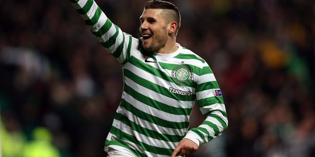 Celtic's English forward Gary Hooper celebrates scoring a goal in Glasgow on December 6, 2012.The club's manager Neil Lennon admits the star striker could have played his last game for the Scottish champions.
