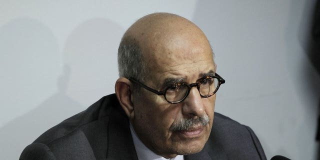 Egyptian leader Mohamed ElBaradei, pictured in Cairo on October 16, 2011, has been sworn in as Egypt's interim vice president for foreign relations, the presidency said in a statement.
