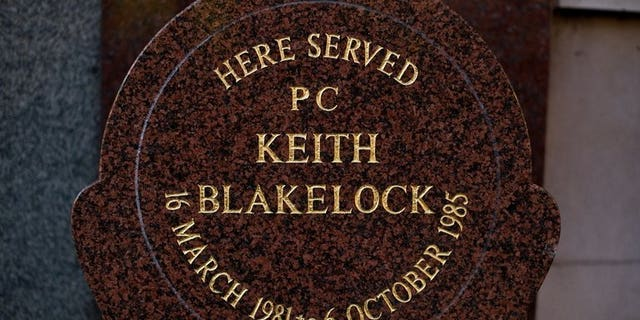 A memorial stone to PC Keith Blakelock on Muswell Hill in north London pictured on October 6, 2010. A 44-year-old man accused of the murder of PC Keith Blakelock during the Broadwater Farm riots in north London in 1985 will appear at Westminster Magistrates' Court on Wednesday.