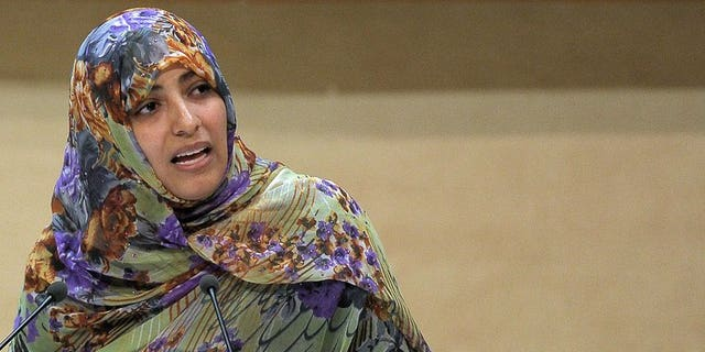 """Nobel Peace Prize winner 2011 Yemeni journalist and activist Tawakkol Karman delivers a speech in Strasbourg on October 08, 2012. Egyptian authorities banned Yemeni rights activist and Nobel Peace Prize winner Tawakkol Karman from entering the country for """"security reasons,"""""""