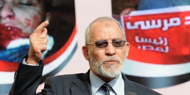 Muslim Brotherhood leader Mohammed Badie speaks during a press conference at the party's headquarters in Cairo on August 8, 2012. An Egyptian court set an August 25 trial date for the Muslim Brotherhood chief, his two deputies and three other group members for their alleged involvement in protesters' deaths.