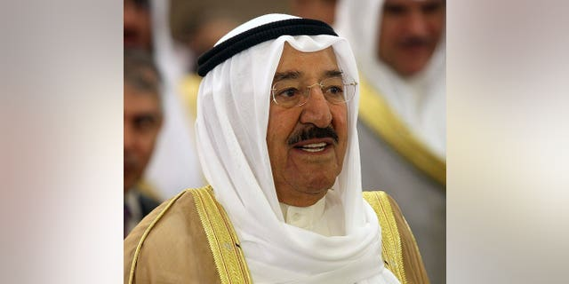 Emir Sheikh Sabah al-Ahmad al-Sabah attend the 19th Arab Inter-Parliamentary Union (AIPU) summit in Kuwait City, on April 9, 2013. Kuwait's emir has urged MPs and the government to cooperate to achieve political stability in the oil-rich Gulf state that has been rocked by a series of disputes for years.