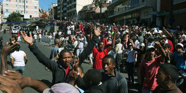 People protest in the centre of Antananrivo, in May last year. EU foreign affairs head Catherine Ashton gave those blocking elections in Madagascar a two-week deadline Tuesday to avoid sanctions, warning that international patience after a four-year wait is at breaking point.
