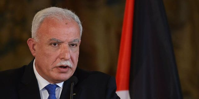 """Palestinian Foreign Minister Riyad al-Maliki addresses a press conference on April 2, 2013 in Prague. Palestinians have """"serious doubts"""" about Israel's commitment to recently resumed peace talks, but they remain committed to participating in the negotiations, Maliki said Friday in Ecuador."""