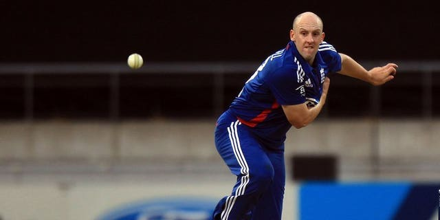 England's James Tredwell bowls during the International Twenty20 cricket match between New Zealand and England played at the Westpac Stadium in Wellington on February 15, 2013.