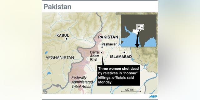 Graphic map showing Darra Adam Khel in Pakistan's tribal area where relatives have shot dead three women in 'honour' killings, according to officials Monday.
