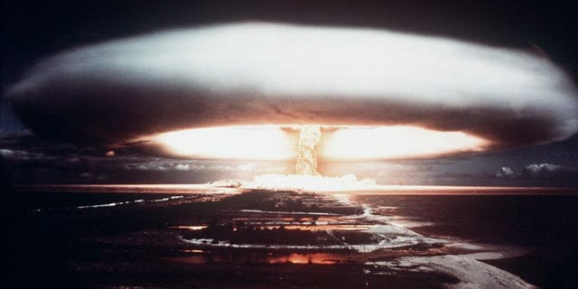 Picture taken in 1971, showing a nuclear explosion in Mururoa atoll. The US Air Force came dramatically close to detonating a huge atomic bomb over North Carolina in 1961, according to a newly declassified document published by Britain's Guardian newspaper on Saturday.