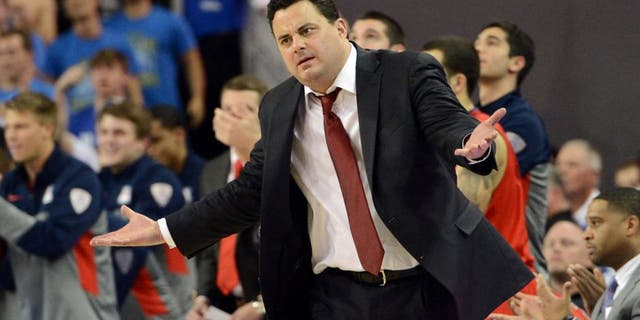 Jan 9, 2014; Los Angeles, CA, USA; Arizona Wildcats head coach Sean Miller in the second half of the game against the UCLA Bruins at Pauley Pavilion. Arizona Wildcats won 79-75. Mandatory Credit: Jayne Kamin-Oncea-USA TODAY Sports