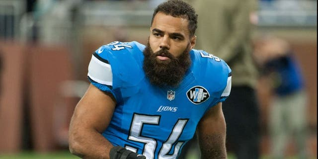 Nov 9, 2014; Detroit, MI, USA; Detroit Lions outside linebacker DeAndre Levy (54) before the game against the Miami Dolphins at Ford Field. Mandatory Credit: Tim Fuller-USA TODAY Sports